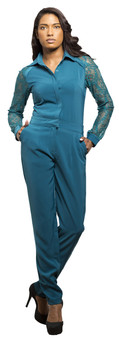 Damen Jumpsuit Playsuit Catsuit All in One Kleid mit Netzarmen Komplett Blau