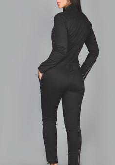 Eleganter schwarzer Baumwoll Jumpsuit Playsuit Catsuit All in One  2