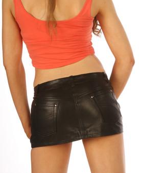 Enganliegender sexy Mikro-Minirock aus Leder im Jeans-Stil, 5-Taschen img 3