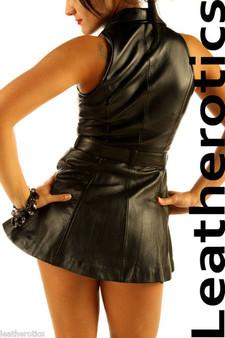Sexy Schwarzes Leder Minikleid Top ärmellos MD78 image 2