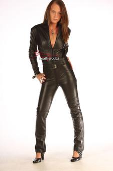 Hautenger Anzug Schwarzes Leder Catsuit Jumpsuit Spielanzug 1235