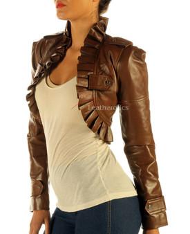 Damen Antike Braune Leder Weste