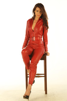 Rotes Leder All in one Ganzkörper Catsuit Jumpsuit 3