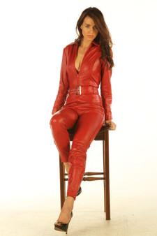 Rotes Leder All in one Ganzkörper Catsuit Jumpsuit 3