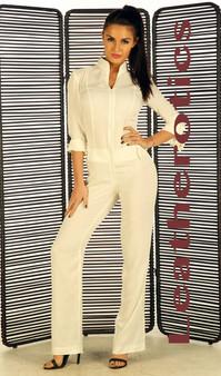 Enger Anzug aus weißen nackten Baumwoll Leinen Catsuit Jumpsuit Spielanzug  pic 3