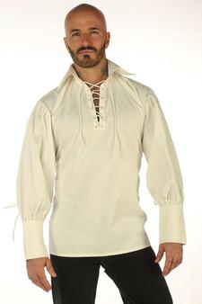 Cream Cotton Herrenhemd Mittelalterlicher Pirat LARP Front Schnürung Langarm Kostüm