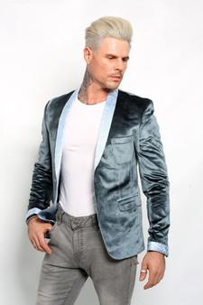 Deluxe blau Samt Herren Blazer Vintage Kleid Top
