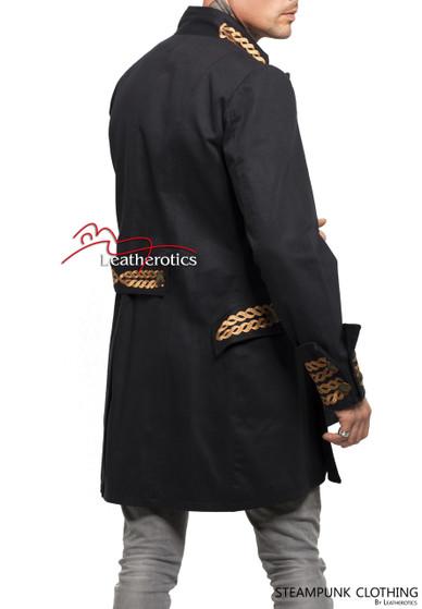 Schwarzes Baumwoll Gothic Steampunk Vintage Kleid Mantel Piraten Militär Top SPSL