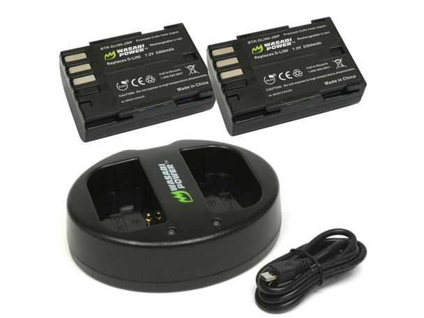 Wasabi Power Battery (2pack) & Double Charger Kit - D-LI90