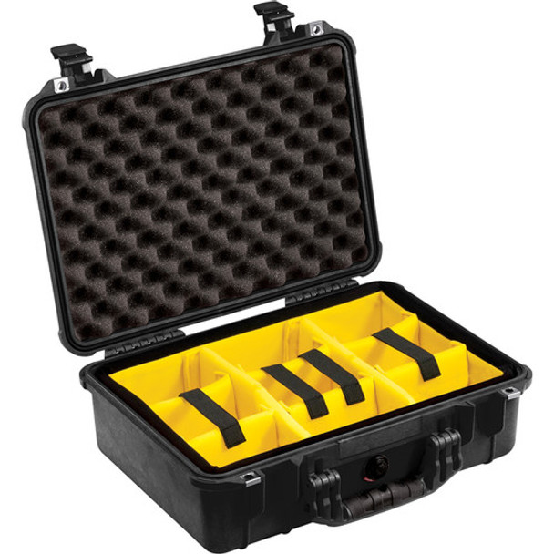 Pelican 1504 Case with Yellow Dividers (Black)