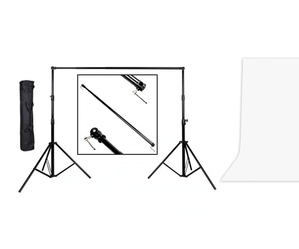 Meking Portable Background Support Kit with 3x4m Muslin Backdrop (White)