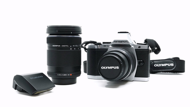 Pre-loved Olympus OM-D E-M5 16MP with 2 Lens, Flash, and Shoulder Bag