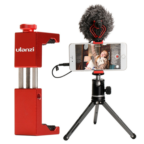 Ulanzi ST-02S Phone clamp with hot shoe mount - red