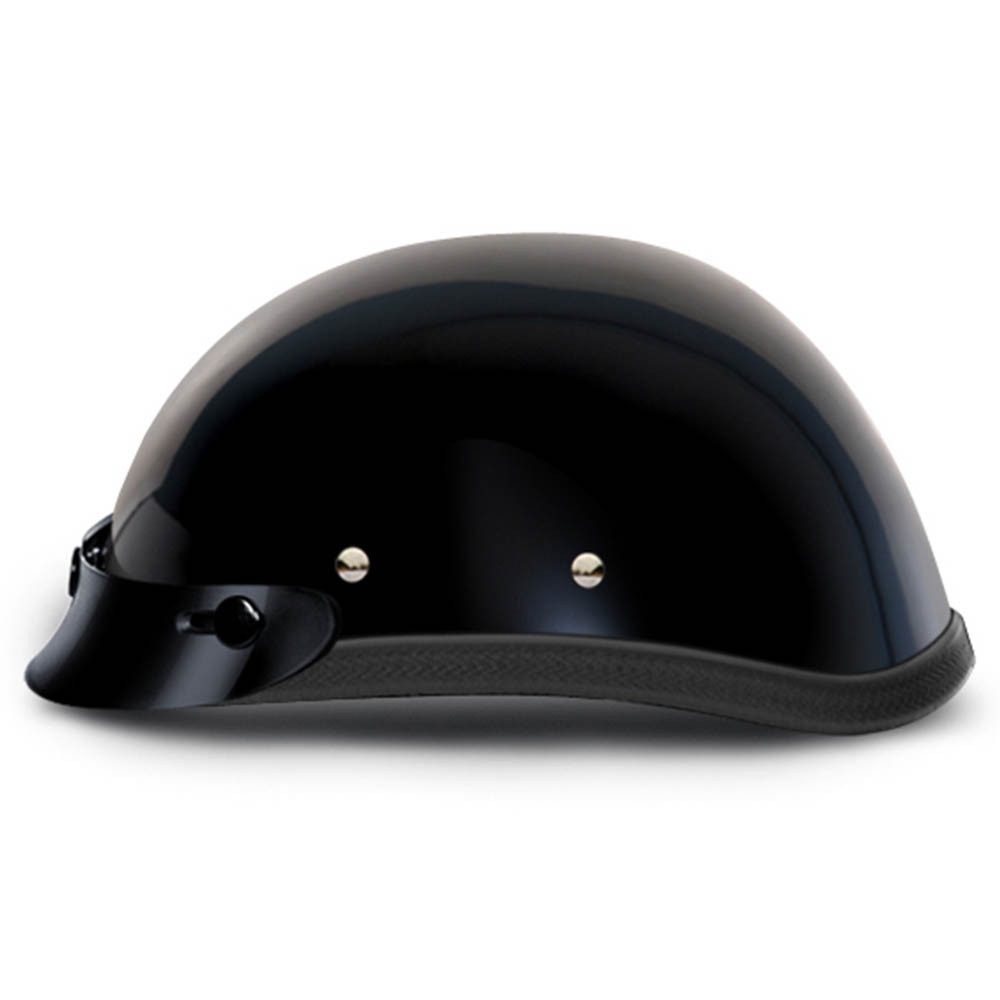 Black Novelty Motorcycle Helmet with Snaps and Visor by Daytona XS S M L XL 2XL