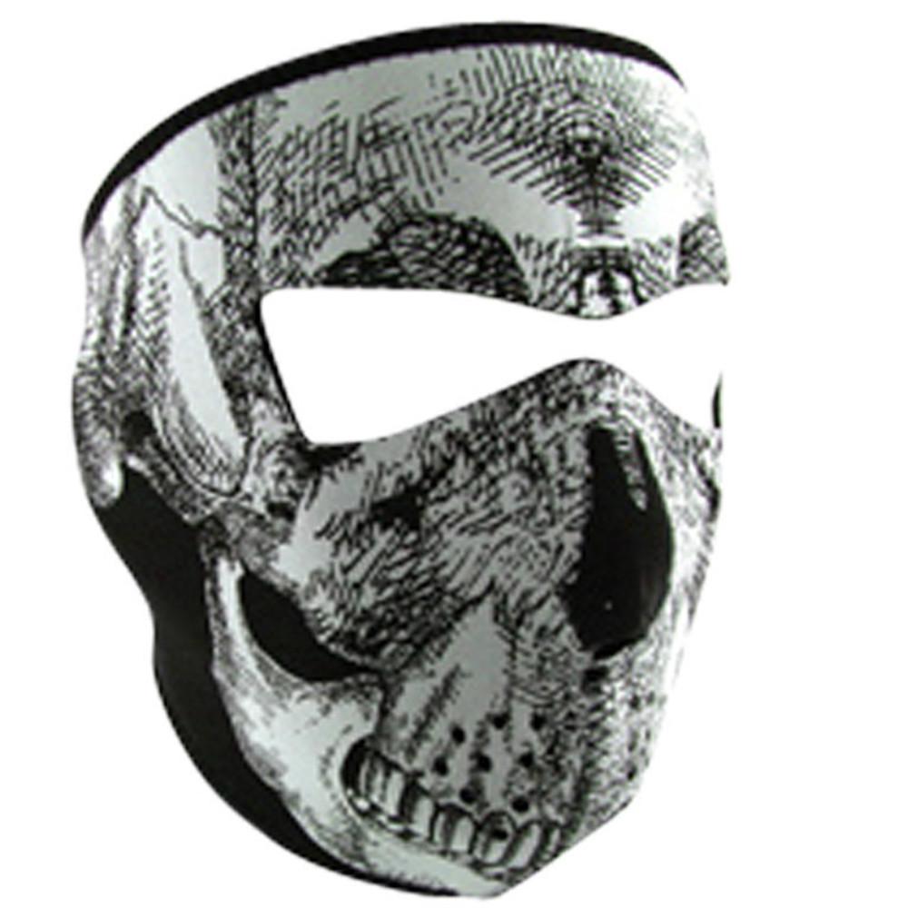 Neoprene Face Mask | Motorcycle Face Mask | Glow in Dark Blk & White Skull Face - WNFM002G