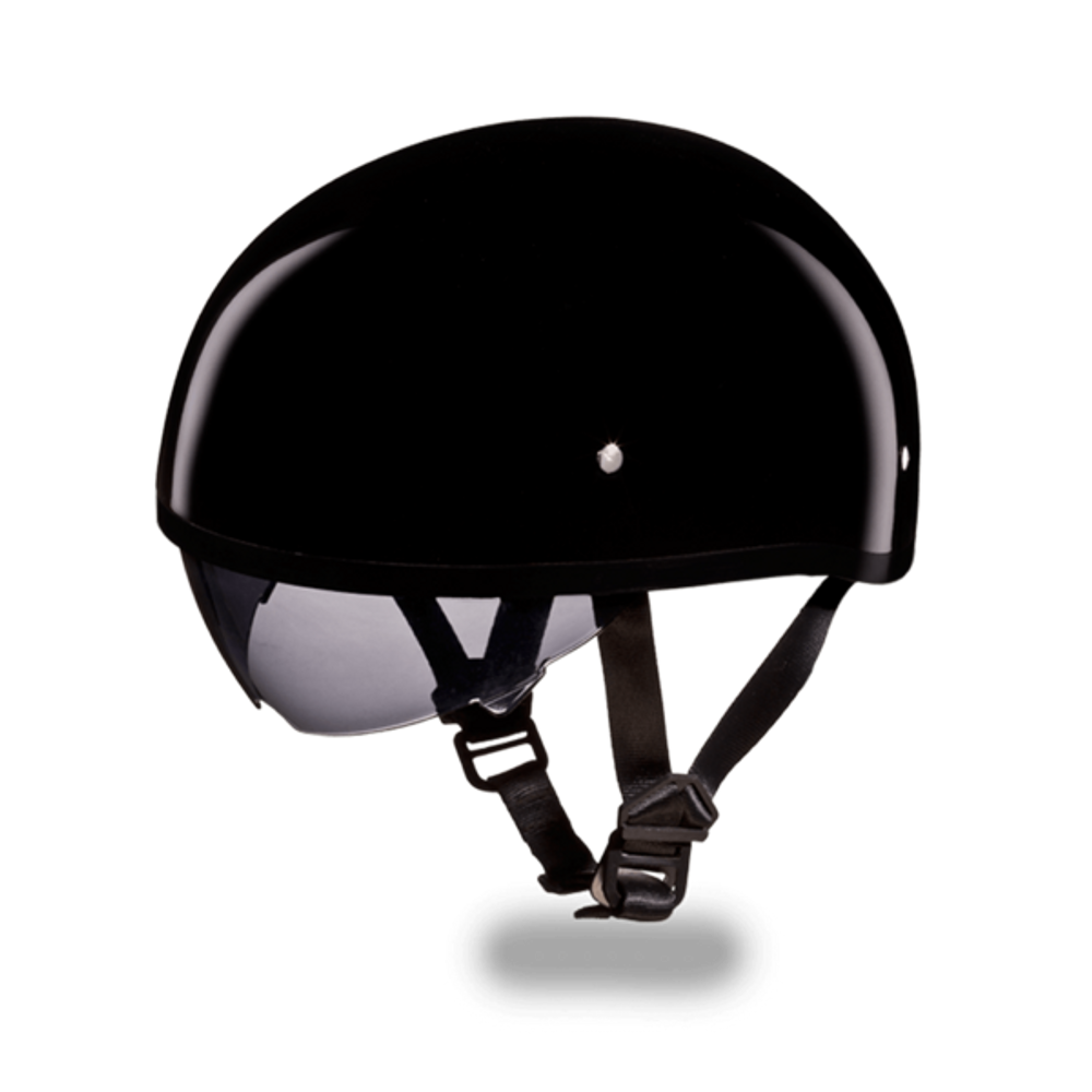 D.O.T. DAYTONA SKULL CAP W/ INNER SHIELD- HI-GLOSS BLACK