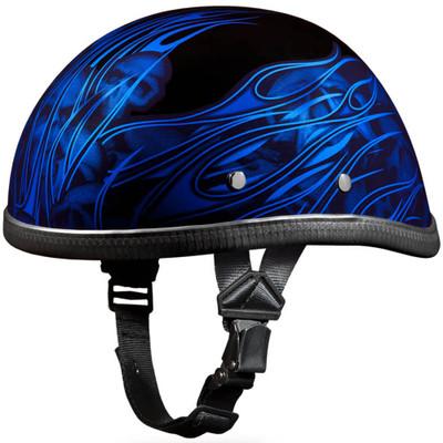 Blue Skull Flames Novelty Motorcycle Helmet by Daytona - Sizes XS S M L XL 2XL