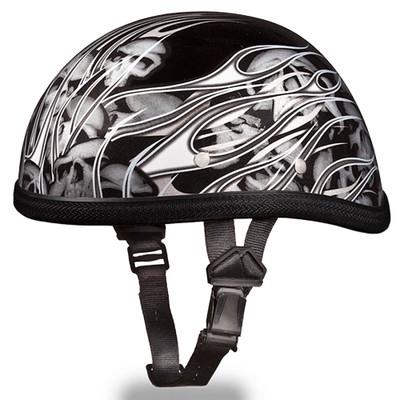 Silver Flames with Skulls - Eagle Novelty Helmets by Daytona XS S M L XL 2XL