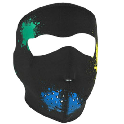 Neoprene Face Mask | Motorcycle Face Mask | Glow in Dark Splatter - WNFM080G