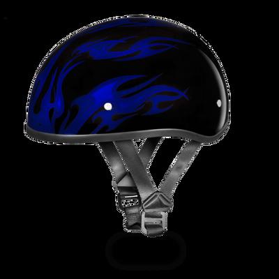 D.O.T. DAYTONA SKULL CAP- W/ FLAMES BLUE