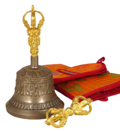 """Small Five Prong Bell and Dorje Set 5.75"""""""