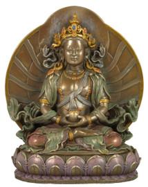 Amitayus Bronze Finish Resin Statue