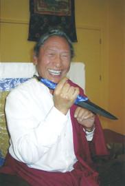 Lama Tharchin Rinpoche with Phurba (Ritual Blade)