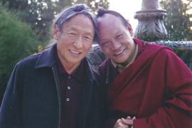 Lama Tharchin and Lama Sonam at Fountain