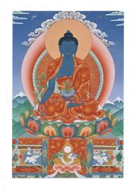 Medicine Buddha Deity Card Print, by Kumar Lama