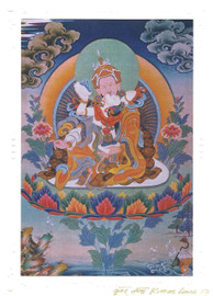 Guru Rinpoche Yab Yum Deity Card Print, by Kumar Lama