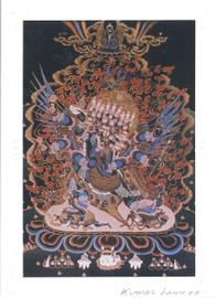 Vajrakilaya Deity Card Print, by Kumar Lama (Dark Background)