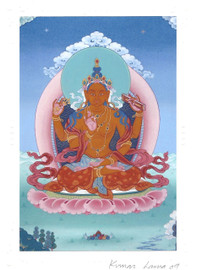 Prajnaparamita Yum Chenmo (Great Mother) Deity Card Print, by Kumar Lama