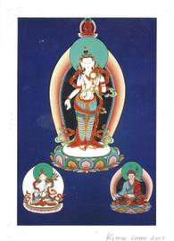Standing Chenrezig Deity Card Print, by Kumar Lama