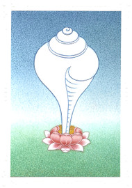 The Conch Shell: Eight Auspicious Symbols Card, by Kumar Lama