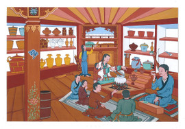 Happy Family: Tibetan Life Card Print, by Kumar Lama