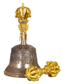 Nine Prong Bell & Dorje Set with Gold and Silver Colored Details