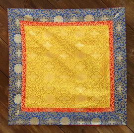 Large yellow brocade with red and blue border (38x38 inches)