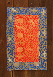Medium red table brocade with blue border (20x31 inches)