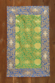 Medium green table brocade with blue border (19.5x32 inches)
