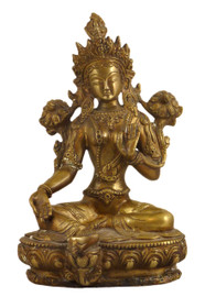 Brass Green Tara Statue (approximately 8.25 inches tall)