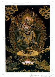Lion faced Dakini Deity Card Print, by Kumar Lama