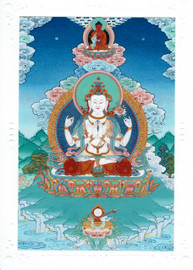 Chenrezig with Amitabha Deity Card Print, by Kumar Lama
