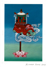The Victory Banner: Eight Auspicious Symbols Card, by Kumar Lama