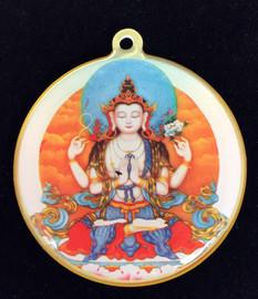 Chenrezig Mantra Deity Medallion