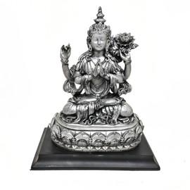 "Avalokiteshvara (Chenrezig) Resin Statue - Antiqued Silver Finish 7"""
