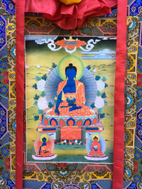 "Medicine Buddha Print Thangka - 39"" x 23"""