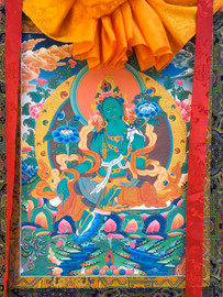 "Green Tara Thangka - 45"" x 31"""