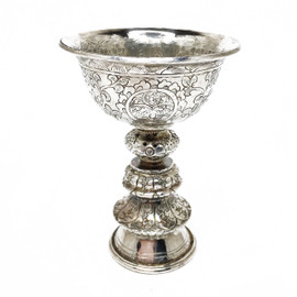 Butter Lamp Holder, Engraved, Silver-Plated