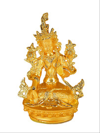 "Green Tara Statue, Gold 3"""