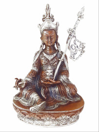 Guru Rinpoche Statue, Copper with Silver 3.75""
